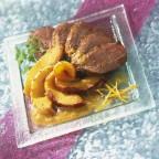 Magret de canard aux pêches et sa sauce aigre-douce