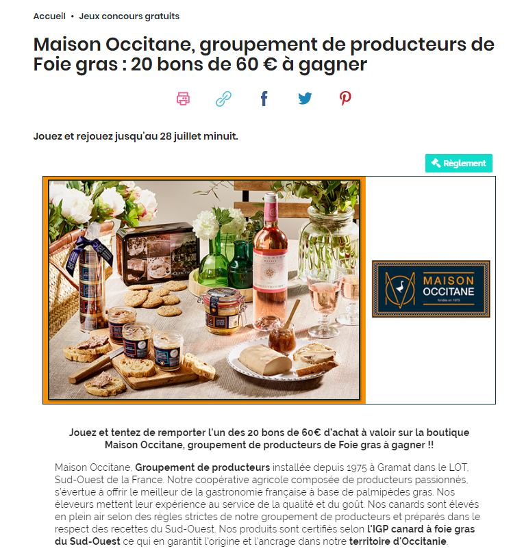 Jeux concours Cuisine Actuelle Maison Occitane Foie gras